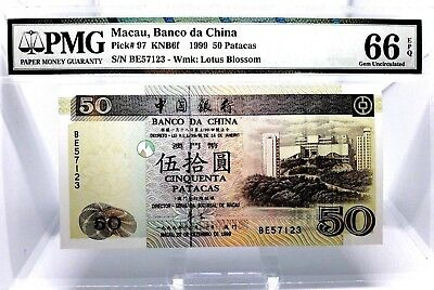 Money Macau 50 Patacas 1999 Banco Da China Pmg Gem Unc Pick #97 Value $160