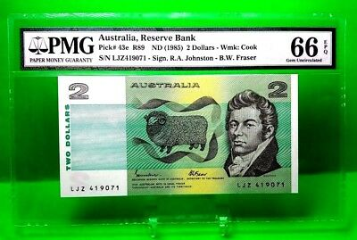 Money Australia 2 Dollars 1985 Reserve Bank Gem Unc 66