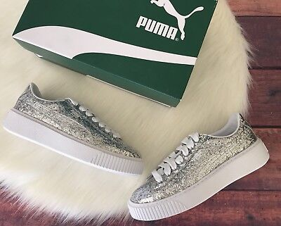 Puma Basket Platform Glitter Sneakers Size 10 New In Box Silver