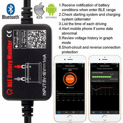 Battery Monitor Bluetooth 4.0 Device 12V Battery Tester Car Diagnostic Test Tool