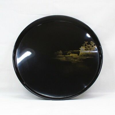 D055: Japanese old lacquered circular tray with wonderful TOGIDASHI-MAKIE. 2/9