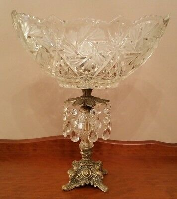 Vintage Brass and Crystal Fruit Bowl