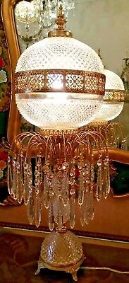 Vintage Brass and Crystal Table Lamp Marrakesh Jelly
