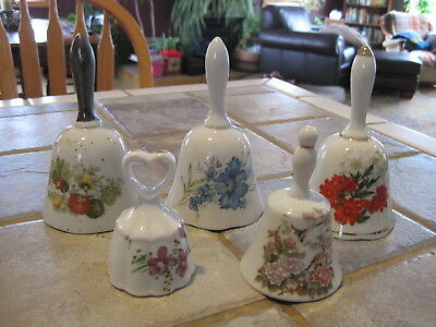 Lot of 5 Collectible Ceramic Bells Floral Design Vintage
