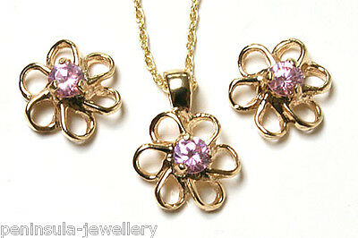 9ct Gold Pink CZ Daisy Pendant Necklace and Earring Set Made in UK Gift Boxed