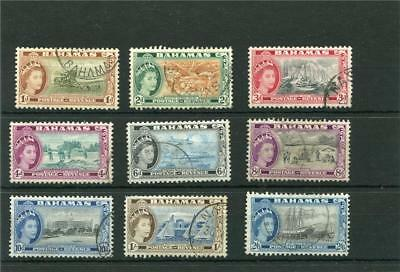 Bahamas. 9 -- Early Used Qe2 Stamps On Stockcard. Includes 2/6.