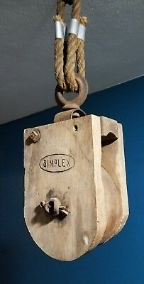 Antique Cast Iron AND WOOD BARN HAY TROLLEY ORNATE LINE PULLEY RUSTIC DECOR