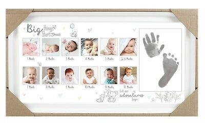 Baby Age Stages Photo Frame 13 Opening Slots with Ink for Foot and Hand Print