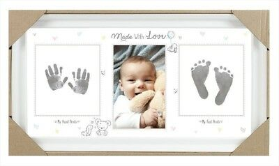 Baby Keepsake Footprint Hand Print Photo Frame Ink Pad Picture Frame Baby Shower