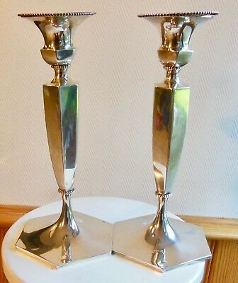 Roger Williams Silver Co ,Paire Flambeaux Bougeoirs - Art Deco,Candlestick