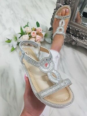 751b3048cc06 RYLEIGH SILVER JEWELLED Sandals OFFICIAL BOUTIQUE GODDESS - £13.99 ...
