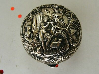 Antique German Silver Sterling Hinged Lid Pill SNUFF BOX Embossed Flute Player