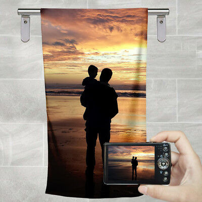 Your Photo Picture Personalised Custom Printed Photo Beach Bath Hand Towel Gift