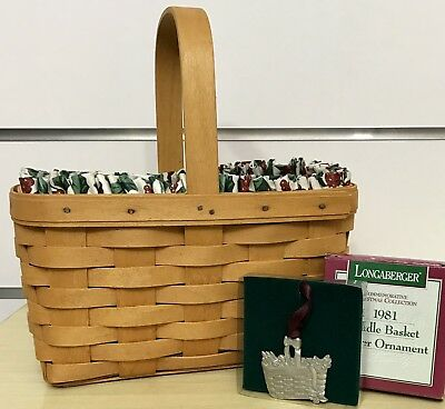 Longaberger Candle Basket Combo, Traditional Holly Liner, Protector, Tie-on