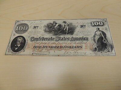 1862 Confederate States $100 Dollar Note Serial 33336 (stamped) VF bill