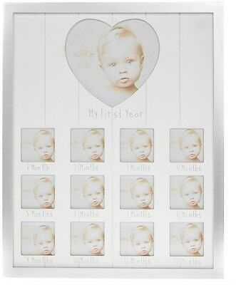 Silver My 1st Year metal photo frame containing 12 square apertures Home Large