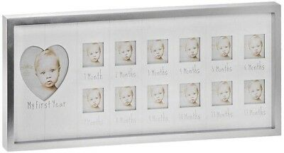 My 1st Year metal photo frame containing 12 square apertures Home Nursery Large