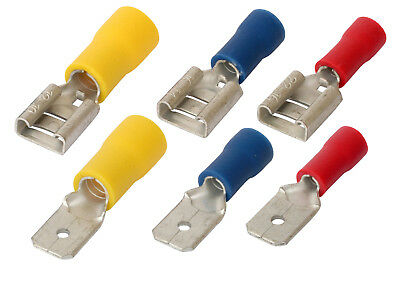 Crimp Spade Connectors Male / Female 1.5mm 2.5mm 6mm Red Blue Yellow