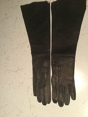 Vintage Black Leather Elbow Length Gloves. Made In Italy Size 7