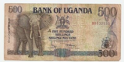 1988 Bank of Uganda 500 Shillings  Paper Currency  ~  BB832530
