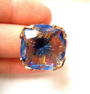 Stunning Vintage Estate Signed Emmons Blue Rhinestone Adjustable Ring!!! 9755K