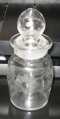 Vintage Etched Apothecary Jar With Ground Stopper