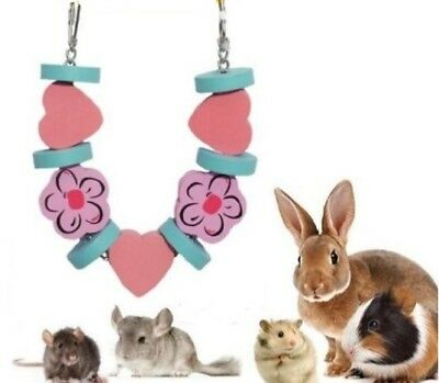 Wooden Flower & Heart Gnaw Nibble Garland Chew Rabbits Guinea Pig Hamsters Rats