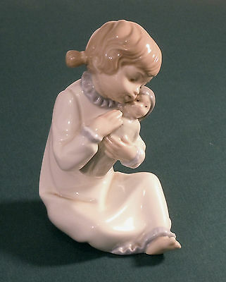 """Zaphir Porcelain Figurine / Young Girl with Doll 'Don't Cry Dolly' 6"""" tall"""