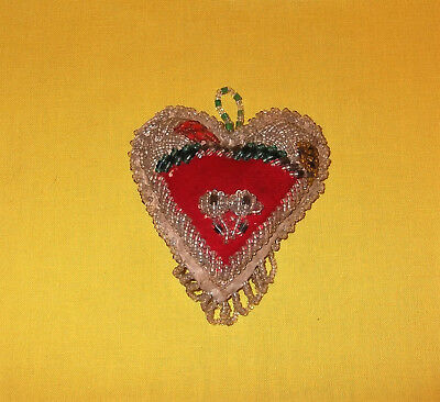 Antique Native American Iriquois Indian Beaded Heart Pin Cushion Whimsey