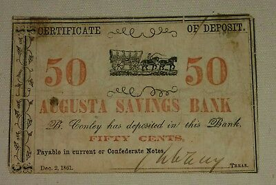 1861 Confederate State of Georgia Fractional Currency 50 Cent Civil War