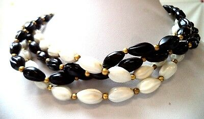 "Stunning Vintage Estate Signed Trifari Black White 16"" Necklace!!! 9756F"
