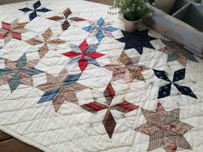 Authentic Antique c1880 Stars Table Crib QUILT 41x27 Farmhouse One of  a Kind