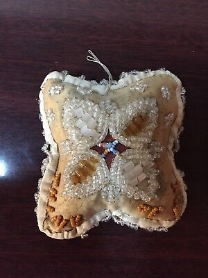 Antique Vintage Indian Iroquois Whimsey Beaded Pin Cushion Souvenir