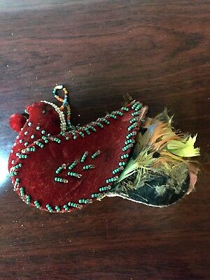 Antique Vintage Indian Iroquois Whimsey Beaded Velvet Stuffed Bird Feathers