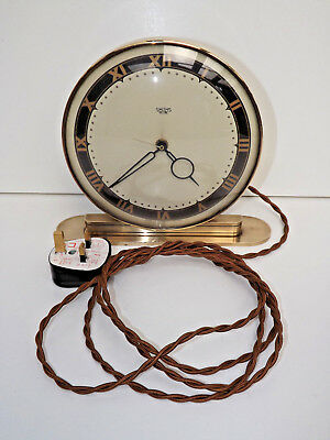 Art Deco Smiths Sectric Brass Electric Mantle Clock In Full Working Order