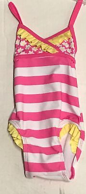 Circo Swimsuit Pink & White Striped, 6 Months UPF 50+