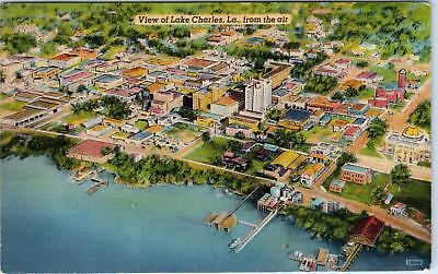LAKE CHARLES, LA Louisiana    AERIAL VIew of TOWN   1947  Linen    Postcard