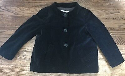 🌷 Bonpoint Girls Black Gray Jacket Coat Size 6 Jacadi
