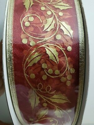 """100 Yds New Red Gold Wired Ribbon Holly Berry 2.5"""""""