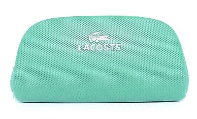 Authentic LACOSTE GREEN LEATHER ZIP SUNGLASSES CASE W/ CLEANING CLOTH
