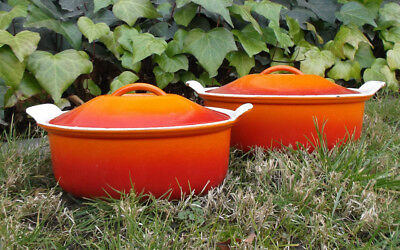 Vintage Le Creuset French Enamelware Oval Dutch Oven Set Orange Red 26 28 Lids