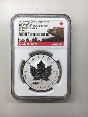 2016 Canadian Maple Leaf: Reverse Proof with Tank Privy **NGC PF70** FDOI