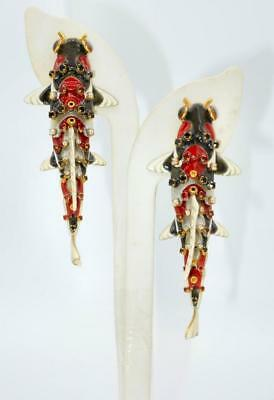 Gorgeous Lunch at the Ritz Enamel and Rhinestone Koi Fish Earrings