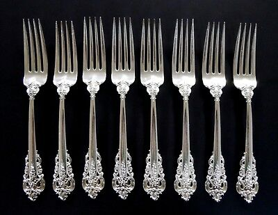 WALLACE Grande Baroque Sterling Silver Dinner Forks .925 Flatware (8pc)