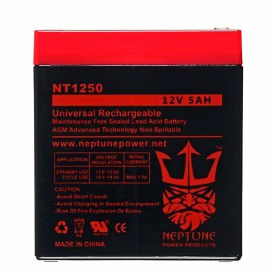 NEPTUNE 12V 5Ah NT-1250 Rechargeable SLA Sealed Lead Acid Battery
