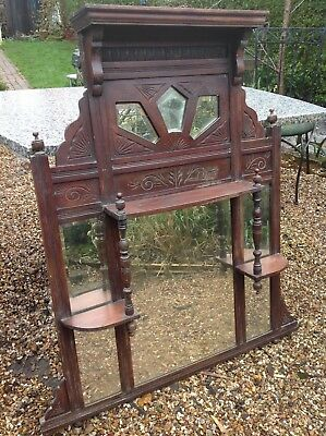 LArge victorian Antique over mantel fireplace mirror Old