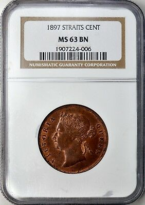 1897 Straits Settlements Cent.. Queen Victoria NGC MS63BN