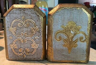 Vintage ITALIAN FLORENTINE GOLD CREAM  GILT TOLE WOOD BOOKENDS