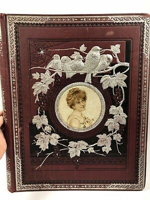Antique Victorian Scrapbook BLANK PAGES Embossed LARGE 18X14 Woman Birds Spider