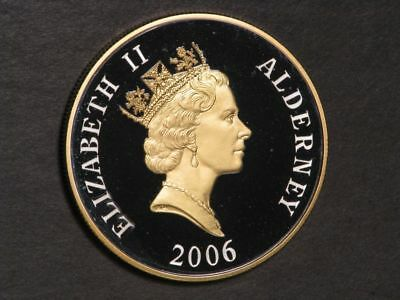 ALDERNEY 2006 5 Pounds 80th Birthday Silver Choice Proof w/Gold Accent